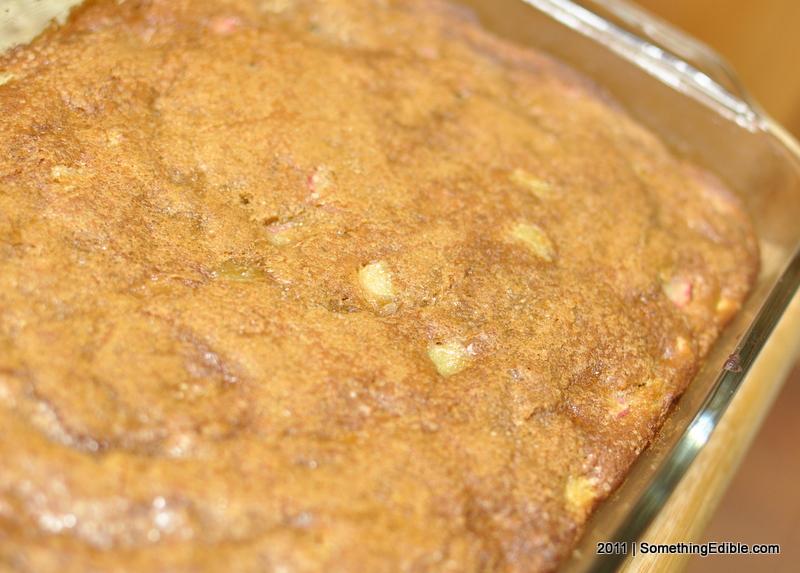 ... Rhubarb Snack Cake with Strawberry Rhubarb Sauce. - Something Edible