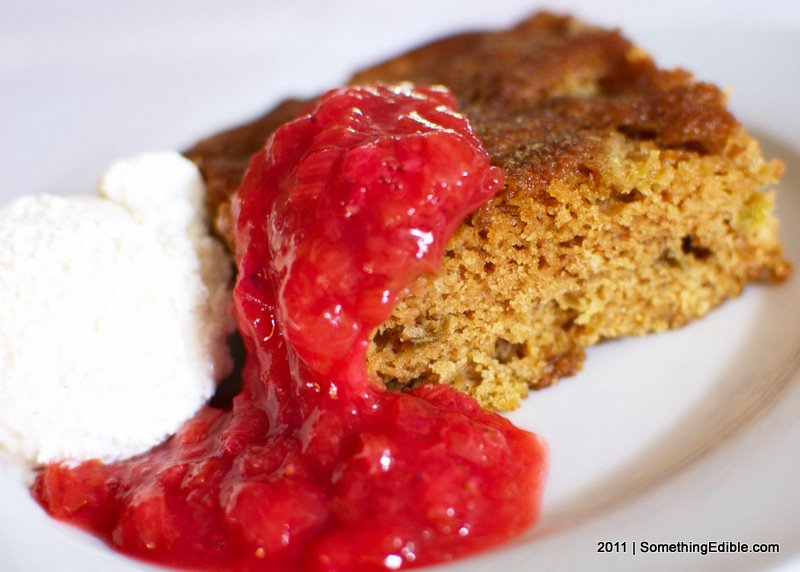 Rhubarb Snack Cake with Strawberry Rhubarb Sauce - Something Edible